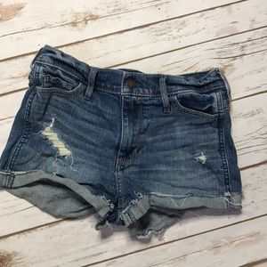 Hollister high rise denim short shorts.